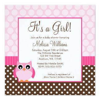 "Pink Brown Owl Polka Dot Girl Baby Shower 5.25"" Square Invitation Card"
