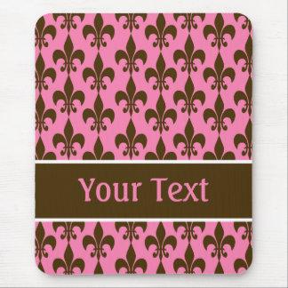 Pink Brown Personalized Fleur de Lis Mousepad