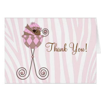 Pink Brown Pink Zebra Baby Shower Thank You Cards