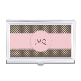 Pink & Brown Polka Dot Business Card Holder