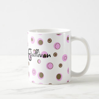 Pink Brown Polka Dots Monogrammed Coffee Mug