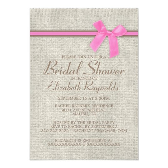 Pink Brown Rustic Burlap Bridal Shower Invitations