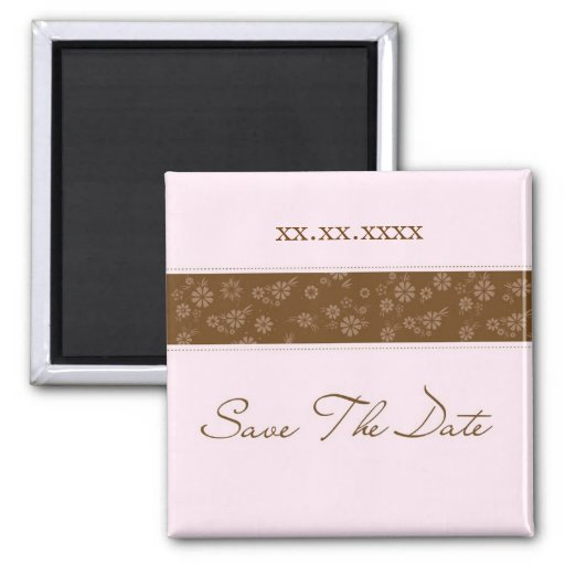 Pink & Brown Save The Date Square Magnet