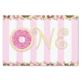 Pink Brown Sprinkle Donuts ONE 1ST Birthday Party Tissue Paper