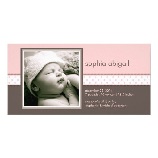 PInk | Brown Sweet Baby Girl Birth Announcement Photo Greeting Card