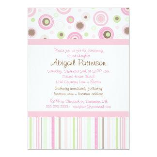 Pink Brown Sweet Girl Polka Dot Christening 13 Cm X 18 Cm Invitation Card