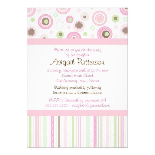 Pink Brown Sweet Girl Polka Dot Christening Custom Announcements