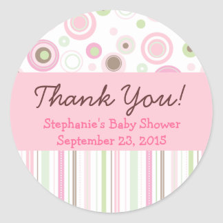Pink Brown Sweet Girl Polka Dot Favor Sticker