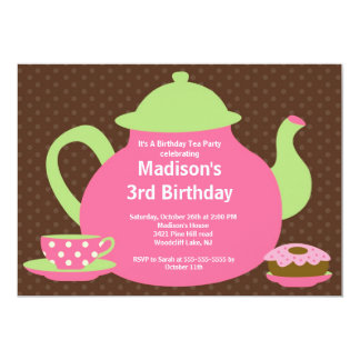 """Pink & Brown Tea Party Birthday Party Invitation 5"""" X 7"""" Invitation Card"""