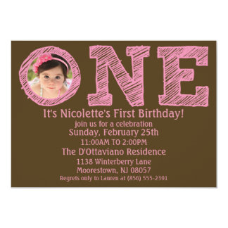 Pink/Brown The Big One Photo First Birthday Party Card