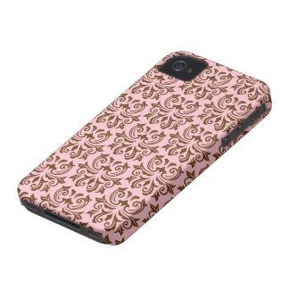 Pink brown vintage floral damask pattern case Case-Mate iPhone 4 cases
