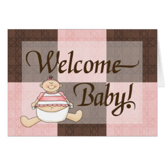 Pink & Brown Welcome Baby Girl Congratulations Card