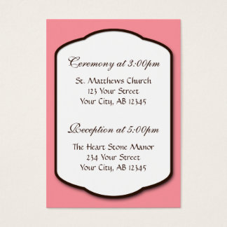 Pink Brown & White Wedding Guest Reference Cards