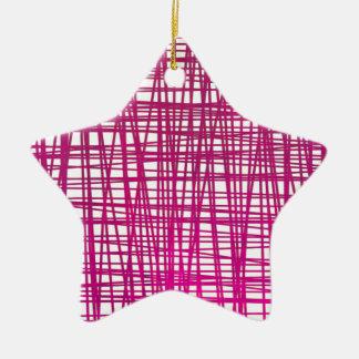 Pink Brushstroke Watercolor Stripes Ceramic Ornament