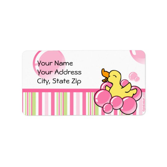 Pink Bubble Ducky Label