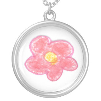 Pink Bubble Flower Round Pendant Necklace