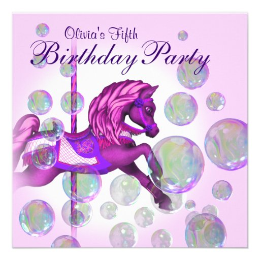 Pink Bubbles Carousel Pony Girls Birthday Party Custom Invites