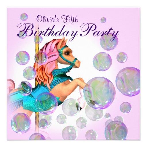 Pink Bubbles Carousel Pony Girls Birthday Party Custom Invitations