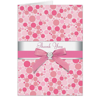 Pink Bubbles Pink Thank You Cards