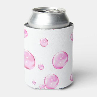 Pink Bubbles White Can Cooler