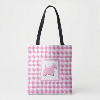 Pink Buffalo Plaid Scottie Dog Tote Bag