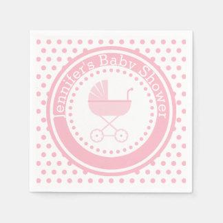 Pink Buggy Baby Shower Paper Serviettes