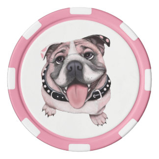 Pink Bulldog dog Game Poker Chips