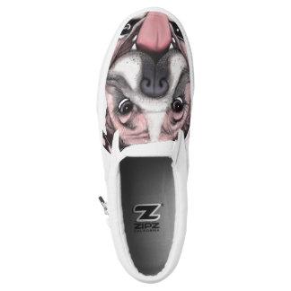 Pink Bulldog Dog Slip On Shoes