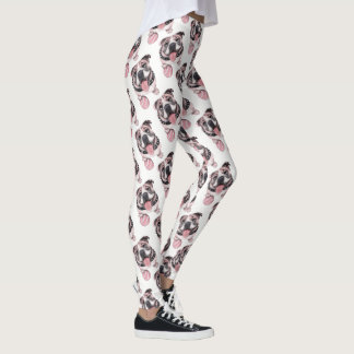 Pink Bulldog dog Yoga Leggings