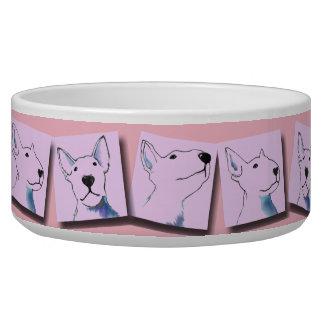 Pink bullterrier images food bowl