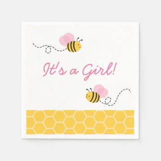 Pink Bumble Bee Baby Shower Disposable Napkin