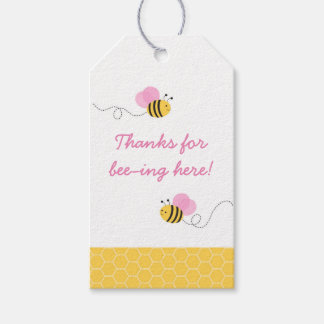 Pink Bumble Bee Baby Shower Gift Tags