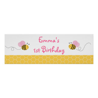 Pink Bumble Bee Birthday Banner Poster