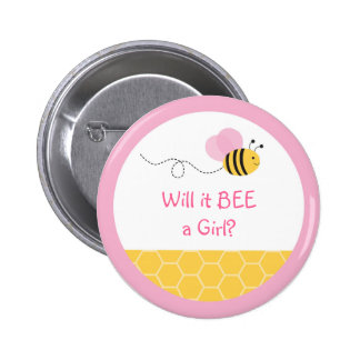 Pink Bumble Bee Gender Reveal Button