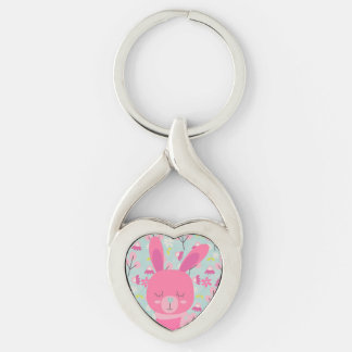 Pink Bunnies and Flowers Silver-Colored Twisted Heart Key Ring