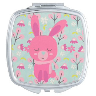 Pink Bunnies and Flowers Vanity Mirror