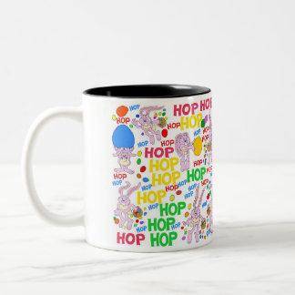Pink bunnies, on a mug. Two-Tone coffee mug
