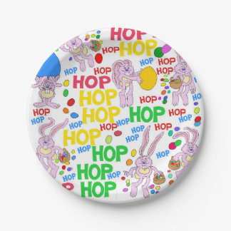 Pink bunnies, on a paper plate. paper plate
