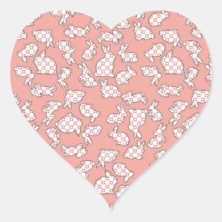 Pink Bunnies Pattern Heart Stickers