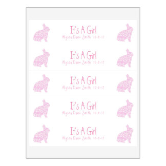 Pink Bunny Baby Shower Announcement Water Bottle Label