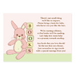 Pink Bunny Baby Shower Book Insert Request Card Pack Of Chubby Business Cards