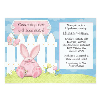 Pink Bunny Baby Shower Invitation