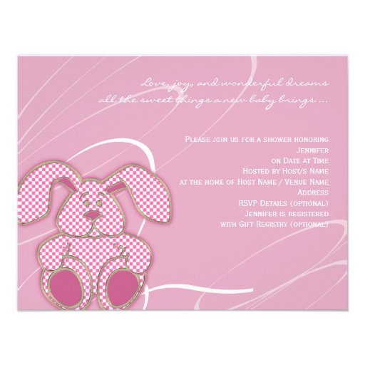 Pink Bunny Baby Shower Invitation