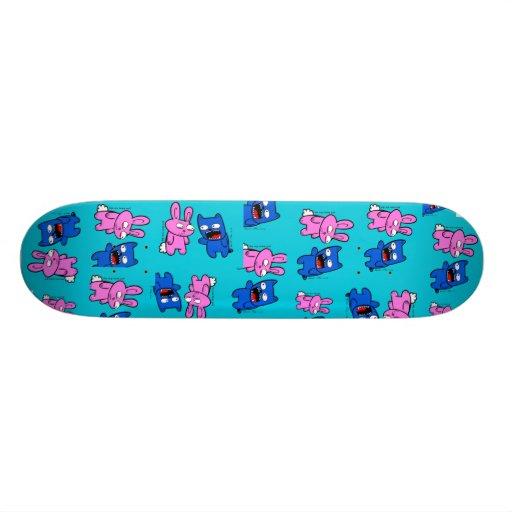 pink bunny blue dog skyblue, pink bunny blue do... skate deck
