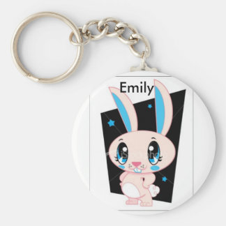 pink bunny emily basic round button key ring