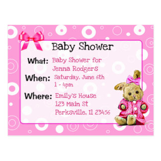 Pink Bunny Girl's Baby Shower Invitation Postcard