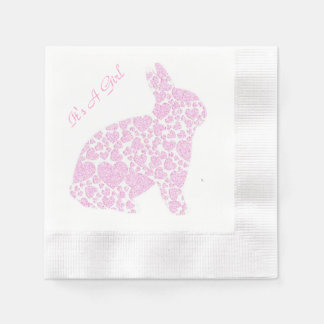 Pink Bunny It's A Girl Disposable Napkin