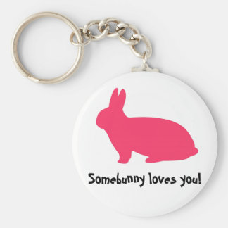 Pink Bunny Basic Round Button Key Ring