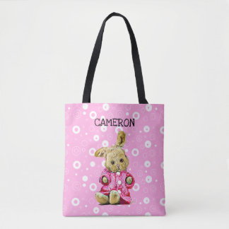Pink Bunny Personalized White Polka Dot Tote Bag