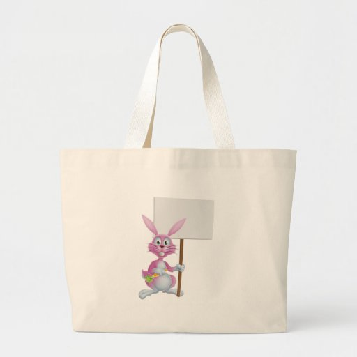 Pink bunny rabbit with carrot and sign canvas bags